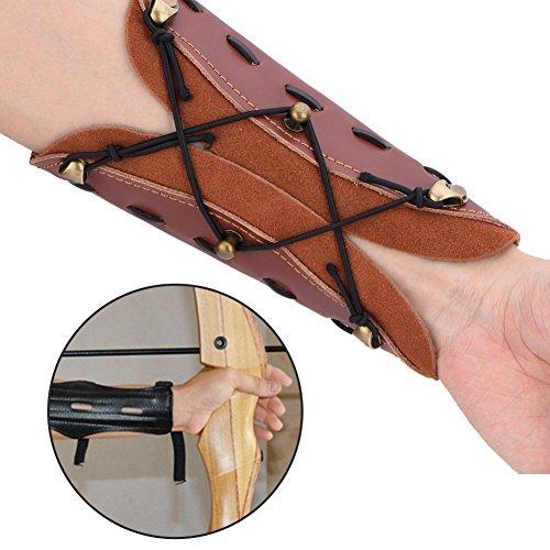 Acogedor Longbow Leather Arm Guard,Arrow Arm Strap Shooting Archery Arrow Leather Arm Guard Protection Safe Strap Armband (Armband Band)