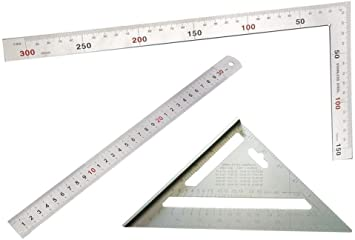 Amazon Com Liyafy 7 Inch Aluminum Alloy Triangle Carpenter S Square Right Angle Ruler 30cm 90 Degree Square Angle Metric Ruler 15cm Measuring Ruler Angle Protractor Tool Office Products