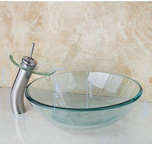 GOWE Newly Art Round Victory Clear Glass Bathroom Washbasin Sinks Glass Sink With Nickel Brushed Faucet Set 0