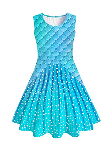 uideazone Kids Girls Printed Mermaid Fish Scale Sundress Cute Sleeveless Playwear Dress for Summer Spring Back to School (Best Outfits For Back To School)