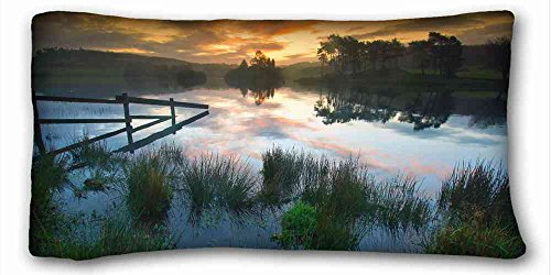 """Nature Land Candles Custom Characteristic (Landscapes Lake Grass Sunset) Pillowcase Cover 20""""X36"""" One Side Suitable X-Long Twin-Bed PC-Purple-21109"""