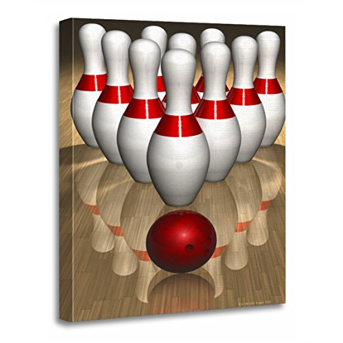 TORASS Canvas Wall Art Print Red Sports Bowling Pins and Activities Artwork for Home Decor 12