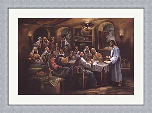 Black Last Supper by Beverly Lopez Framed Art Print Wall Picture, Flat Silver Frame, 36 x 30 inches by Great Art Now