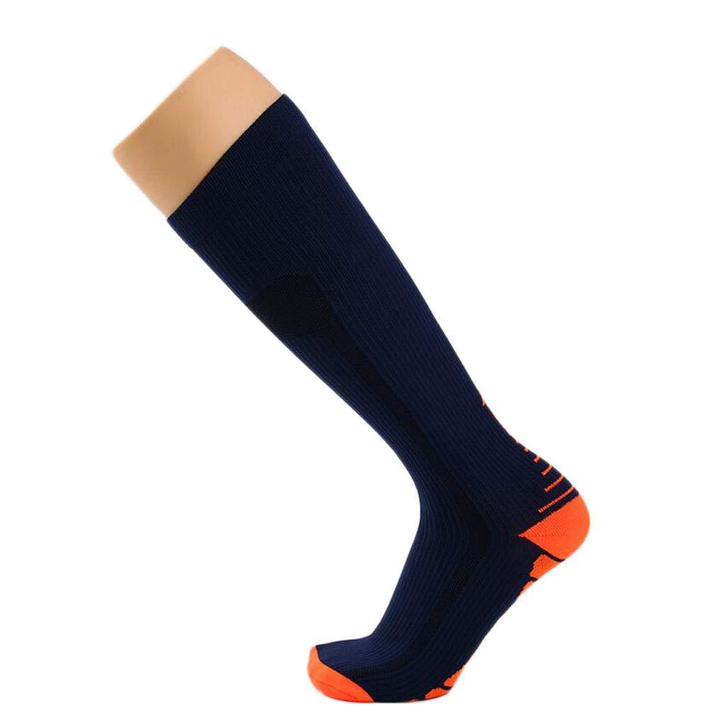 ZJEXJJ Chaussettes de Compression pour Hommes et Femmes (Compression, Graduée,) (Idéal pour Le Sport, Le Travail, Le vol, la Grossesse) (Couleur : Bleu, Taille : One Size)