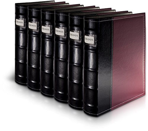 Bellagio-Italia Burgundy DVD Storage Binder Set - Stores Up to 288 DVDs, CDs, or Blu-Rays - Stores DVD Cover Art - Acid-Free Sheets ()