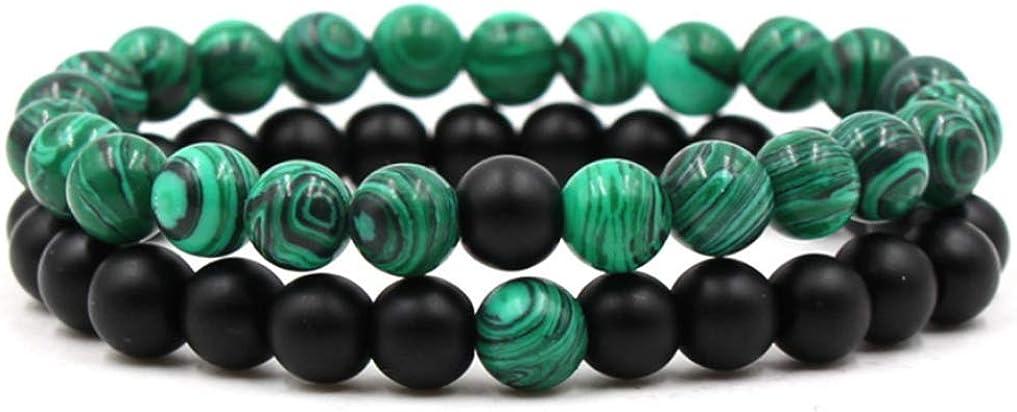 Belons - Pulseras elásticas para hombre y mujer (8 mm, malaquita y negro, mate, ágata, 2 unidades)