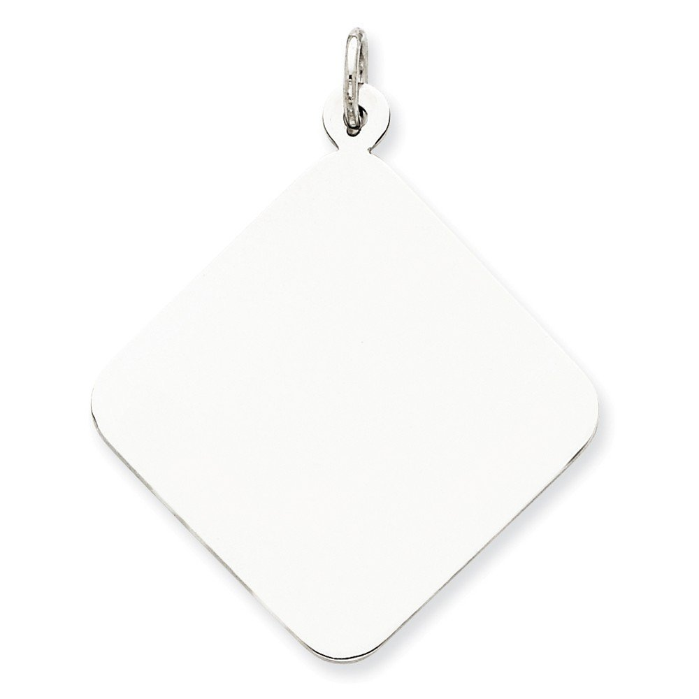 Sterling Silver Engraveable Disc Charm Pendant 1.57 in x 1.42 in