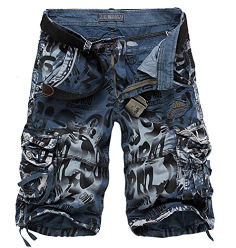 MR. R Men's Loose Fit Cargo Shorts Blue Camo 42