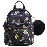 Dream Control Cute Floral Velvet Pom Pom Mini Backpack Shoulder Handbag Black