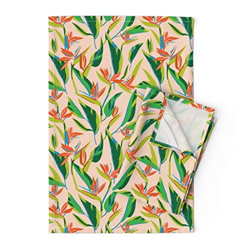 Roostery Tea Towels, Bird of Paradise Tropical Floral Coastal Beach Print, Linen Cotton Tea Towels, Set of 2