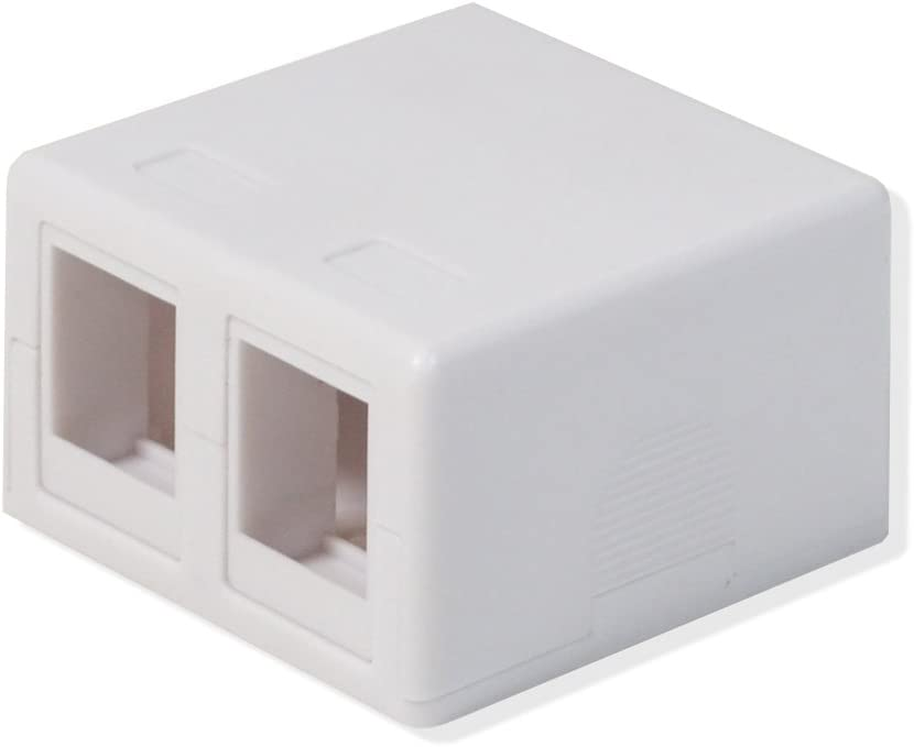LOGICO 50 Pack Surface Mount Box 2 Port Double Hole Keystone Jack Cat5e//Cat6 White