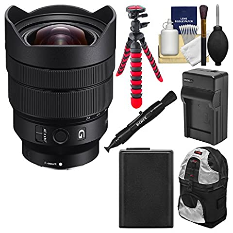 Sony Alpha E-Mount FE 12-24mm f/4.0 G Ultra Wide-Angle Zoom Lens with Backpack + Battery + Charger + Flex Tripod + - Sony 12 Inch