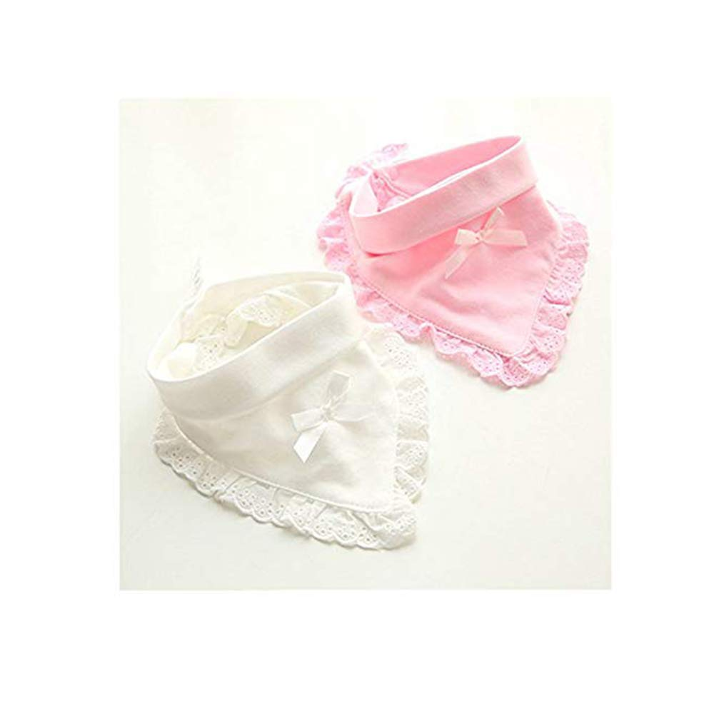 Baby Girl Bandana And Round Drool Bibs For Girls,Pure Cotton,Pretty Cute And Soft Lace Dress Bib For Gifts Set(4Pack)