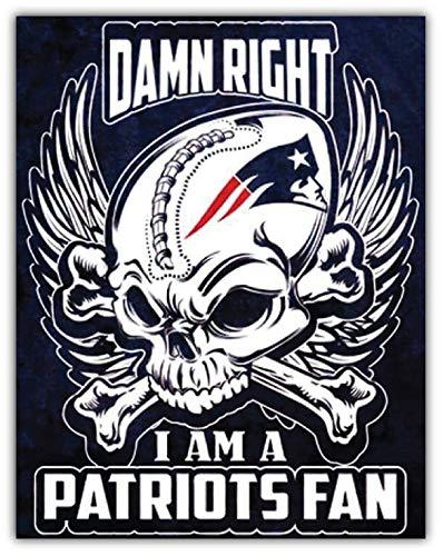 England Patriots NFL Skull Fan Car Bumper Sticker Decal 4'' X 5'']()