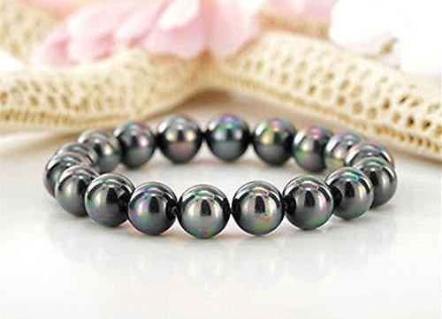 Fashion 12mm Genuine Rainbow Black Round Akoya Shell Pearl Bracelet Bangle 7.5