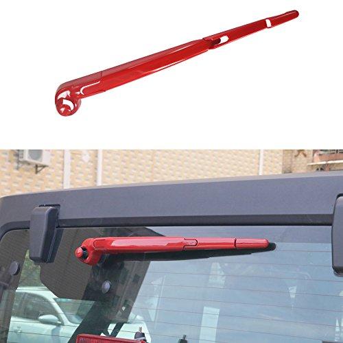 Jeep Windscreen - AVOMAR Rear Rain Windscreen Window Wiper Cover Trim for 2007-2017 Jeep Wrangler JK - Set (red)