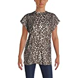 Helmut Lang Womens Leopard Print Crew Neck Casual Top Brown XS
