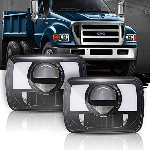T-Former DOT Rectangular 5X7 7x6 Led Headlights With Hi/Low Led Sealed Beams DRL Amber Turn Signal Lights H4 Plug H6054 H5054 6052 Headlights For Jeep Wrangler JK YJ CJ TJ MJ XJ Cherokee Truck,2PCS