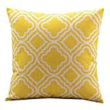 Decorative Pillow Cover - Createforlife Cotton Linen Decorative Throw Pillow Case Cushion Cover (Lemon Argyle Pattern) 18