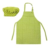 (Price/100 Sets) Opromo Colorful Cotton Canvas Kids Aprons and Hat Set, Party Favors(S-XXL)-GREENDOT-XL
