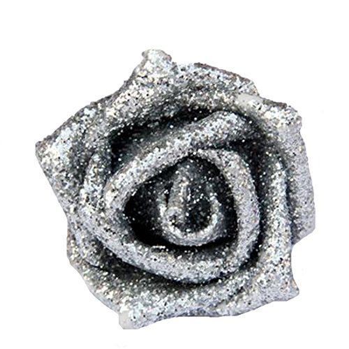 Calcifer 50pcs Sparkling Artificial Flowers Foam Rose Bridal Wedding Bouquets for Wedding Party Home Garden Decor (Silver)