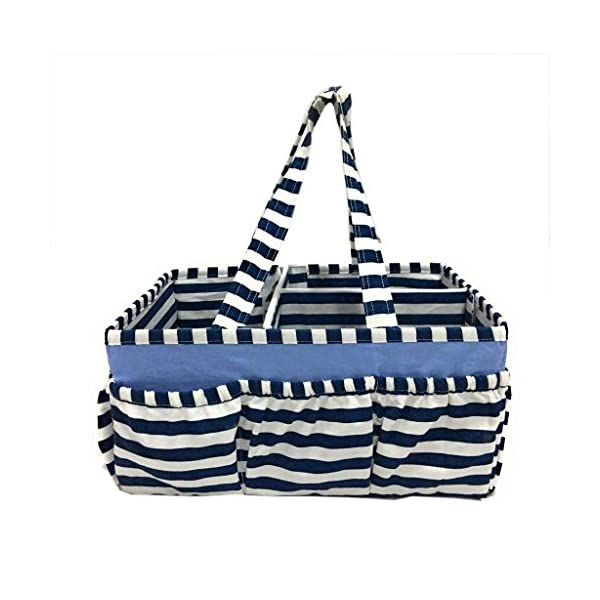 Bacati Pin Stripes Nursery Fabric Storage Caddy with Handles, Navy