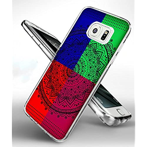 S7 Edge Case Mandala Flowers,Samsung Galaxy S7 Edge TPU Soft Clear Full Protective Case - Design of Vintage Colorful Sales