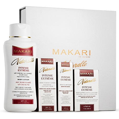 Makari Naturalle Intense Extreme Lightening, Toning & Moisturizing Gift Set - Includes Body Milk, Cream, Serum, Gel & Exfoliating Soap