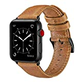 OUHENG Compatible with Apple Watch Band 38mm 40mm, Genuine Leather Band Replacement Compatible with Apple Watch Series 4 Series 3 Series 2 Series 1 (38mm 40mm) Sport and Edition, Retro Brown