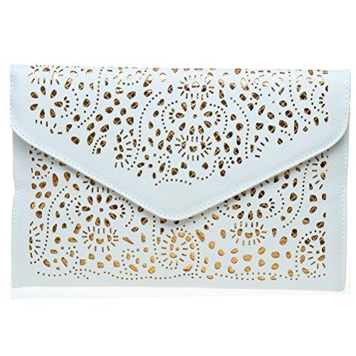 Fashion Road Modern Womens Floral Pattern Cross Body Cut Out Slim Chain Statement Bags Cross Body Handbags White (Bag Pattern Clutch)