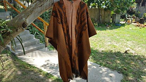 Stripe Alpaca Poncho - Alpaca Poncho Hooded Closed Cinnamon w/stripes, Made in Ecuador