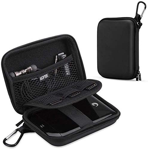 AGPTEK Housse Disque Dur de 2.5pouce, Etui de Rangement mobile Housse de Protection Voyage put Disque, Clé USB, Câble USB, Lecteur mp3(Compatible Le mp4 H3),etc-Noir