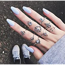 9PCS New Simple Rings Personality Inlay Diamond Rudder Cross Tree Gem Rings Female Jewerly Sliver