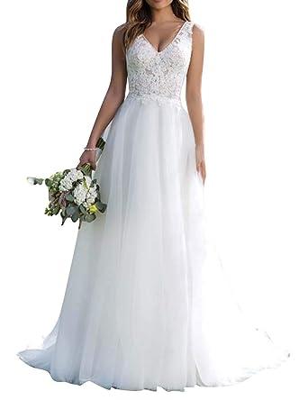 new styles a3370 fc2d8 Brautkleid Lang Hochzeitskleider Damen Brautmode Tüll Spitze ...