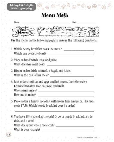 Workbook first grade worksheets pdf : Amazon.com: Scholastic Success With: Math Workbook: Grade 3 ...