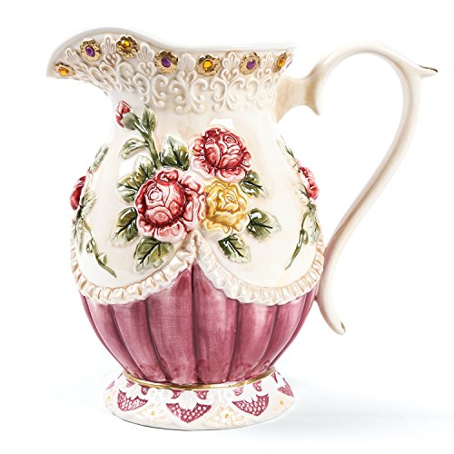 FORLONG FL5009 Large 7.8-Inches Tall Hand-painted Ceramic American Victorian Flowers Water Pitcher Flower Vase/Decorative Bouquet Holder