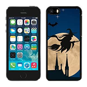 New Beautiful Custom Designed Cover Case For iPhone 5C With Halloween Witch Flying Broom Over Moon Phone Case