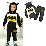 Batman Hoodie and Pants Superhero Set (1-2 Years, Black)