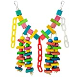 Miayon Bird Toys Knots Block Parrot Chewing Toys Colorful Swing Hanging Toy for Small and Medium Birds