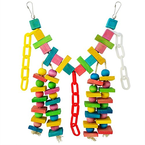 Miayon Bird Toys Knots Block Parrot Chewing Toys Colorful Swing Hanging Toy for Small and Medium Birds by Miayon