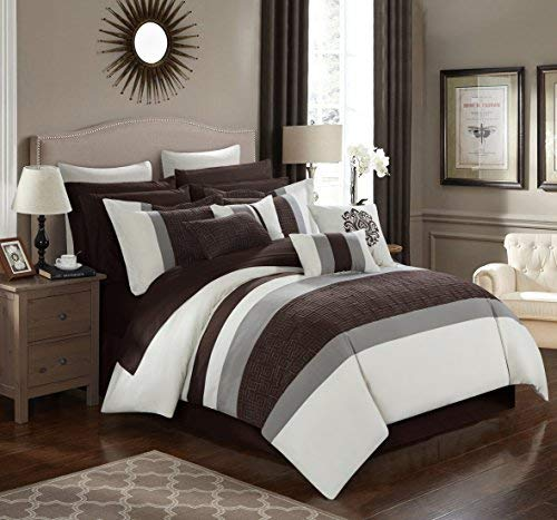 Chic Home 16 Piece Pisa Complete bedroom in a bag Pinch Contemporary embroidered and quilted King Comforter Set Beige