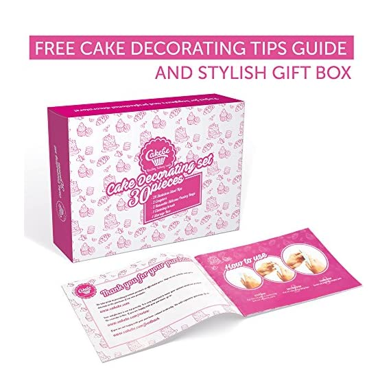 """Cakebe cupcake decorating kit 52 pcs cake decorating kit and cookie decorating kit cake decorating set and cookie… 2 ✅cake decorating supplies. No need spending your precious time looking for the cake decorating supplies that you might need for creating your boldest cake designs. The cakebe set includes the most necessary items that a baker needs for perfect cake decoration: 32 numbered stainless steel tips, 2 couplers, 2 reusable silicone pastry bags and 10 disposable decorating bags, flower nail and lifter. 2 bags ties, decorating guide and storage box. ✅impress your guests. It's believed that beautiful pastry with fancy icing can be made only by people who have been trained for years. This isn't true! With the cakebe cake decorating kit for beginners, you can create a real masterpiece at home on your own! Just imagine the surprise of your husband or guests when you tell them that these lavish cupcakes were made by you! With this set, you can decorate baking goods and products with perfect flower compositions and other patterns. ✅for both pros and a kids. While professionals will enjoy the possibilities of such a large number of tips, beginners will love the ease of creating a real """"bake shop"""" cake design without any experience. Also, kids will adore the kit! Decorating a pie together with your child will be a happy and memorable experience for both of you."""