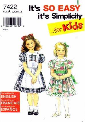 - Simplicity 7422 Sewing Pattern Girls Dress & Pinafore Size 3 - 8