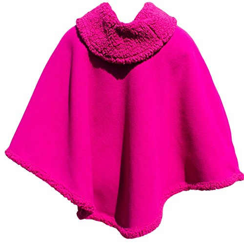 Unisex Polar Fleece Pullover Poncho Sweater Cape One Size (Assorted Colors) (Fucsia)