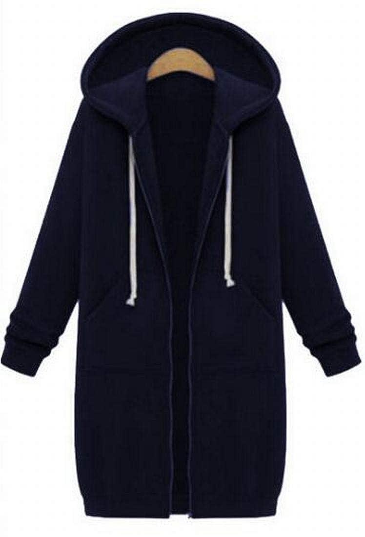 Bravepe Womens Solid Loose Fit Plus Size Longline Drawstring Hooded Jacket Coat Sweatshirt