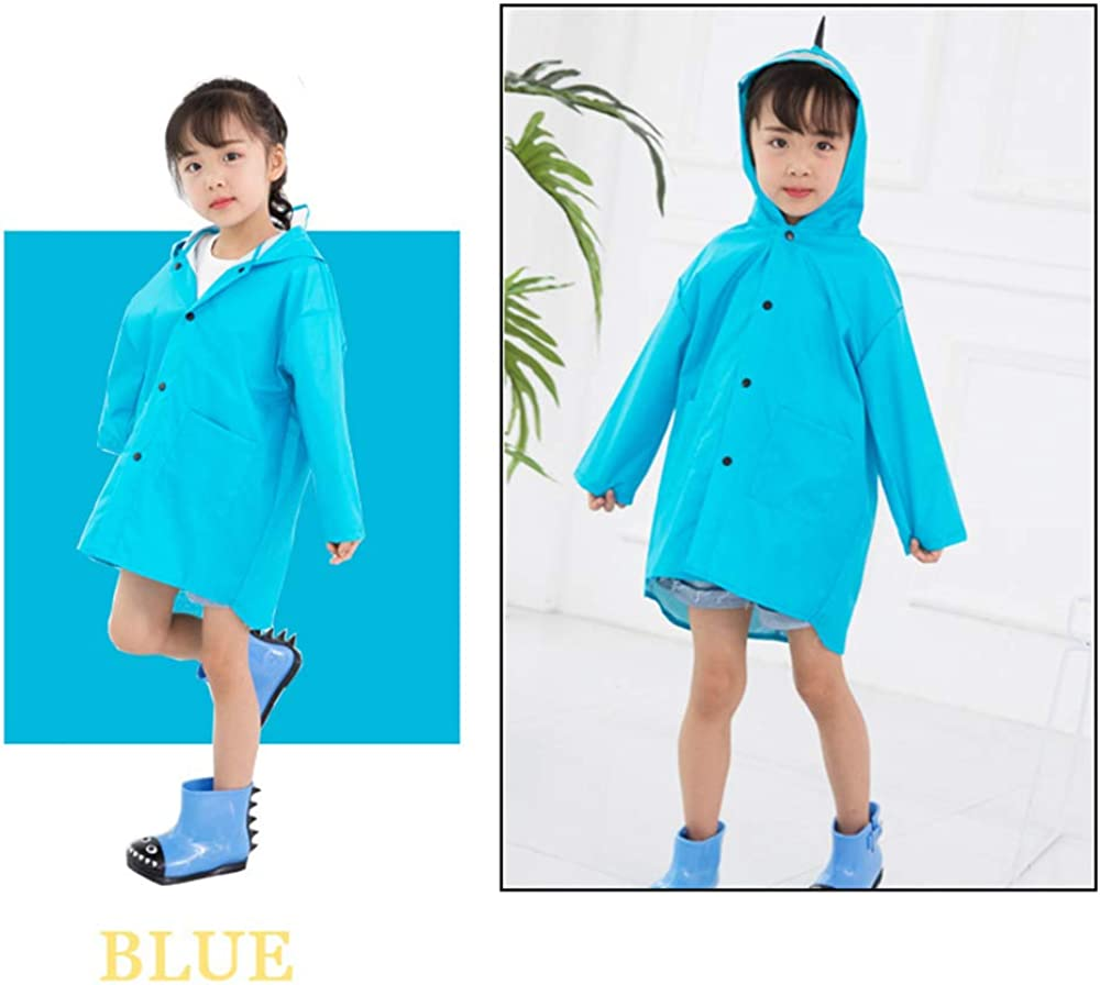 XINGPE Raincoat for Kids Rain Jacket Age 1-10 Dinosaur Shaped Lightweight Rainwear Rain Slicker for Boy for Girl