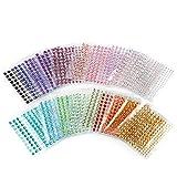 Self-Adhesive Rhinestones, Ubegood Rhinestone Stickers 3300 PCS DIY Gem Rhinestone 4 Sizes 20 Colors Assorted Ideal for Makeup, Festival, Crafts & Embellishments(Pack of 20)