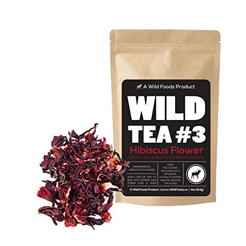 Dried Whole Hibiscus Flowers - Naturally Grown -Perfect for Homemade Tea Blends, Potpourri, Bath Salts, Gifts, Crafts Wild Flower #4 (8 ounce) (Best Homemade Bath Salts)