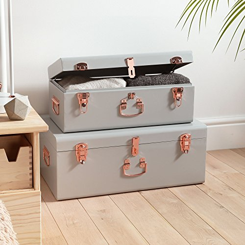 Beautify Gray Vintage Style Steel Metal Storage Trunk Set with Rose Gold Handles - College Dorm & Bedroom Footlocker Trunks