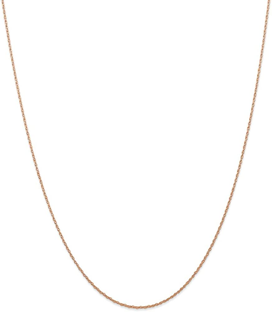 Mia Diamonds 14k Rose Gold .7 mm Carded Cable Rope Chain Necklace